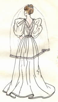 Hand-drawn illustration of a wedding dress